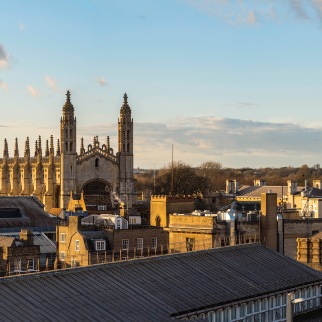 """Golden hour Panorama of Cambridge City centre."" stock image"