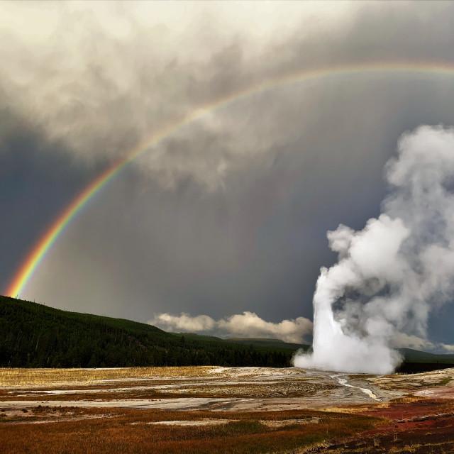 """""""Old Faithful Rainbow"""" stock image"""