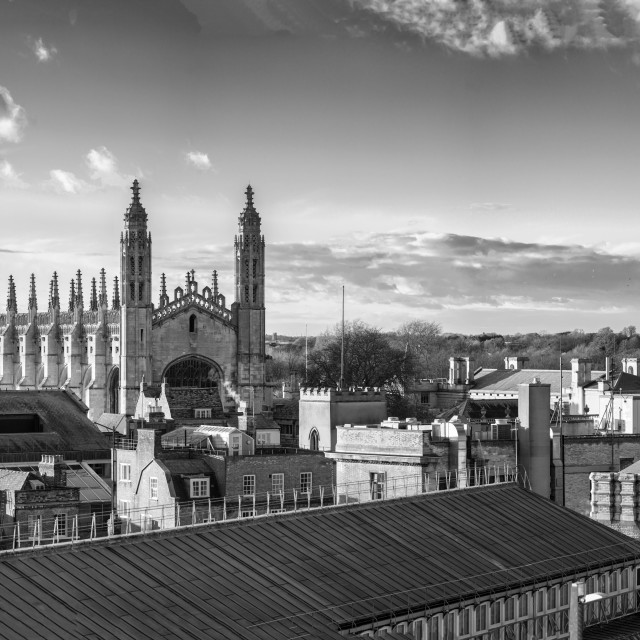 """Black and White Pano of Cambridge City Centre."" stock image"