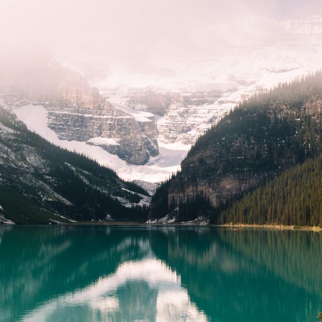 """""""Misty Lake Louise"""" stock image"""