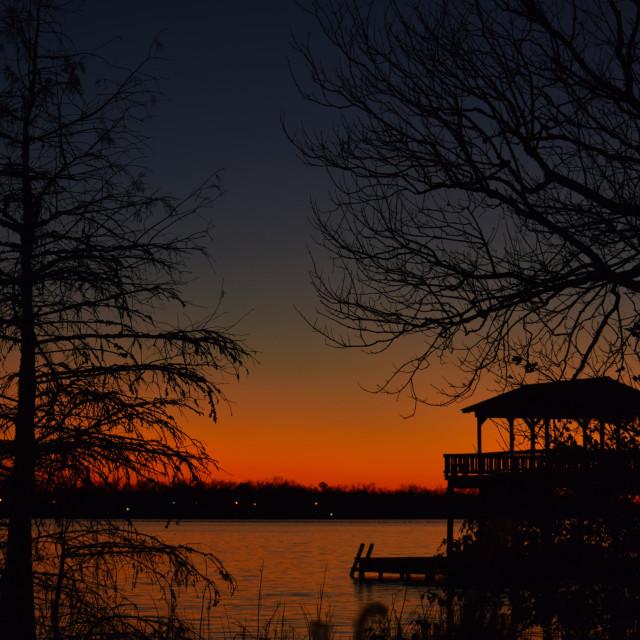 """Sunset on False River"" stock image"