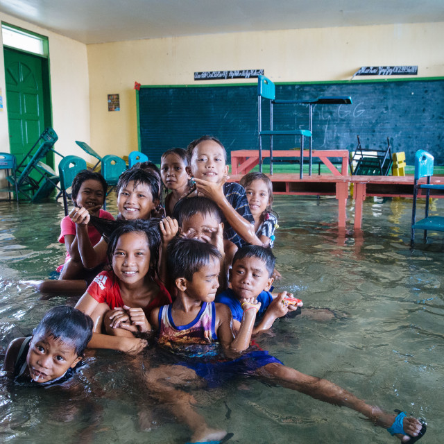 """""""Living with the flood at Ubay Island"""" stock image"""