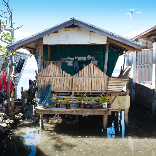 """Living with the flood at Ubay Island"" stock image"