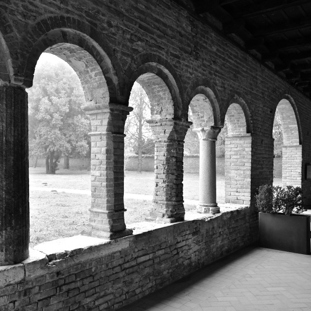 """Porch of Pomposa Abbey"" stock image"