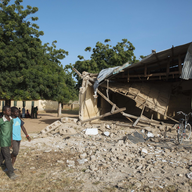 """""""Village School bombed and destroyed by Boko Haram"""" stock image"""