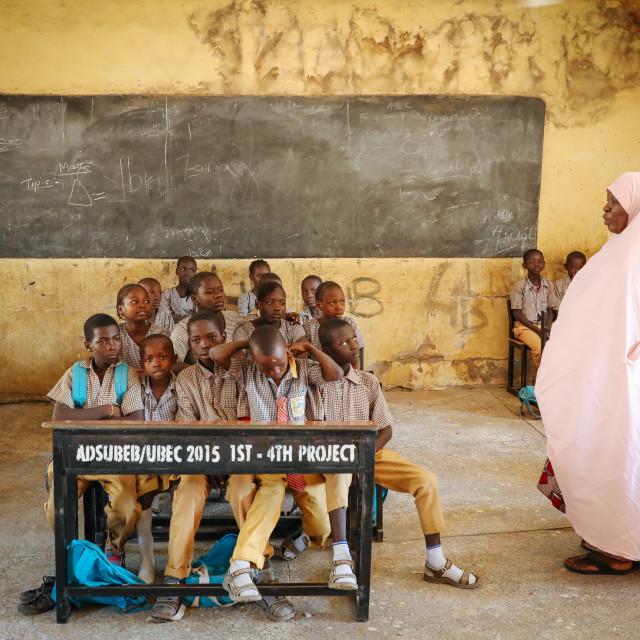 """Grundschule - Boko Haram Flüchtlinge im IDP Camp"" stock image"
