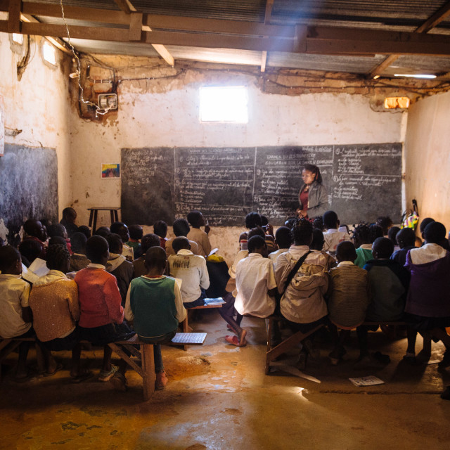 """""""crowded classroom with pupil in Katanga Congo"""" stock image"""