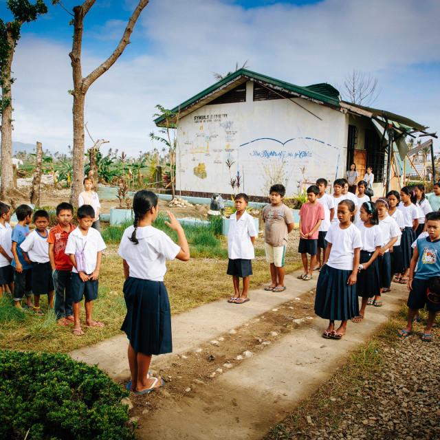"""School Ceremony after the Supertyphoon Haiyan Yolanda"" stock image"