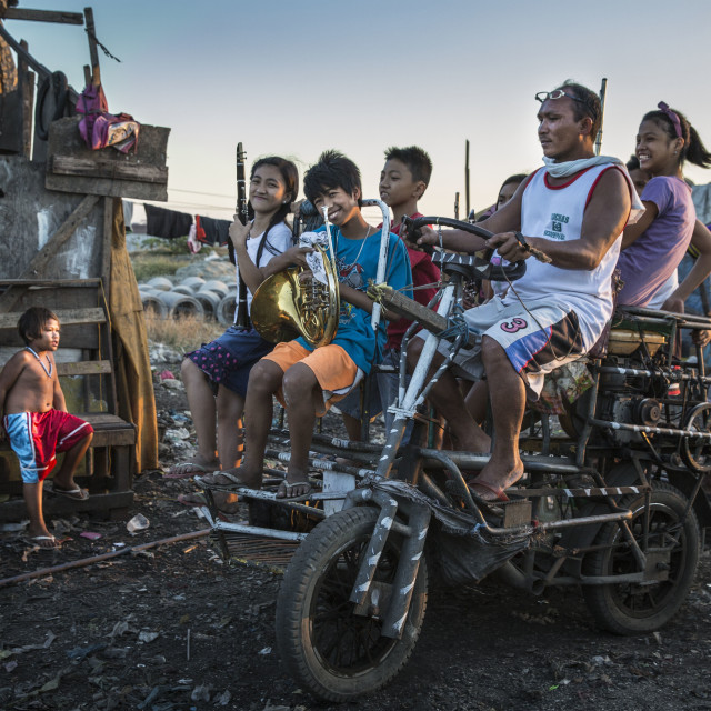 """Students of Classic Orchestra in Tondo Slum"" stock image"