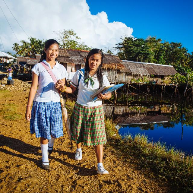 """""""School Girls in School Uniform on their way to School"""" stock image"""