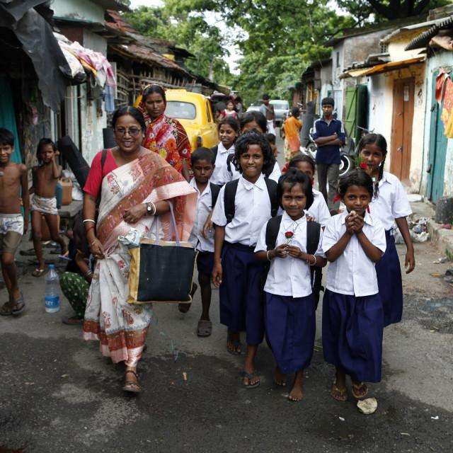 """Students from Tiljala Slum Kolkata India"" stock image"
