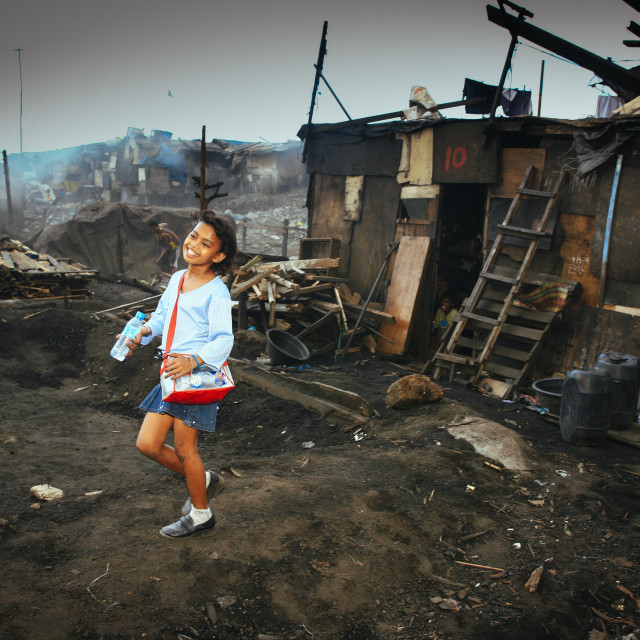 """""""young girl and Scholarship Holder from Tondo Squatter on the way"""" stock image"""