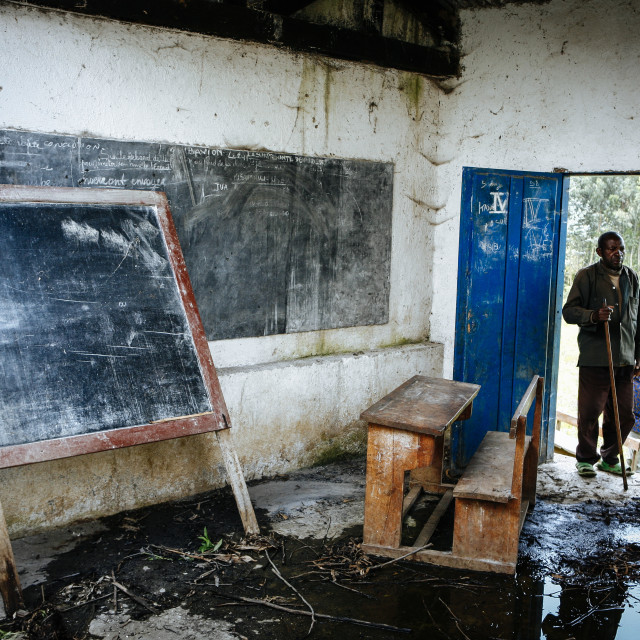 """""""Destroyed Village School during the Civil War in Cong"""" stock image"""