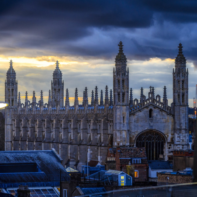 """King's College Chapel during sunset, Cambridge UK."" stock image"