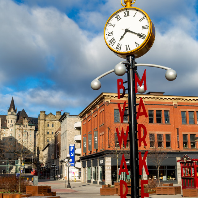 """""""ByWard Market Square clock and sign in Ottawa"""" stock image"""