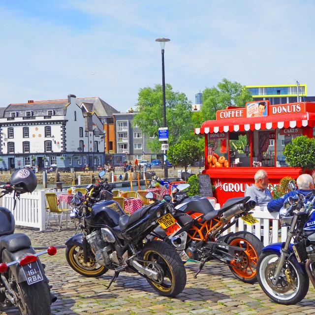 """Motor Bikes on the Harbourside Plymouth Devon"" stock image"