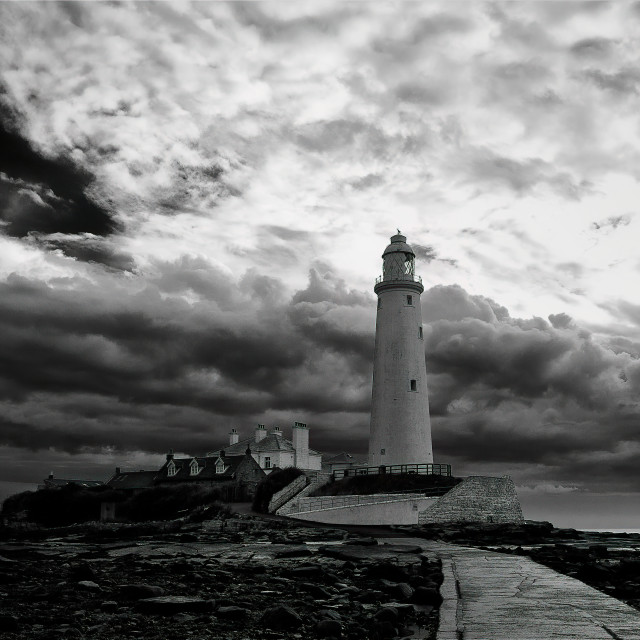 """St Mary's Island in Black and White"" stock image"