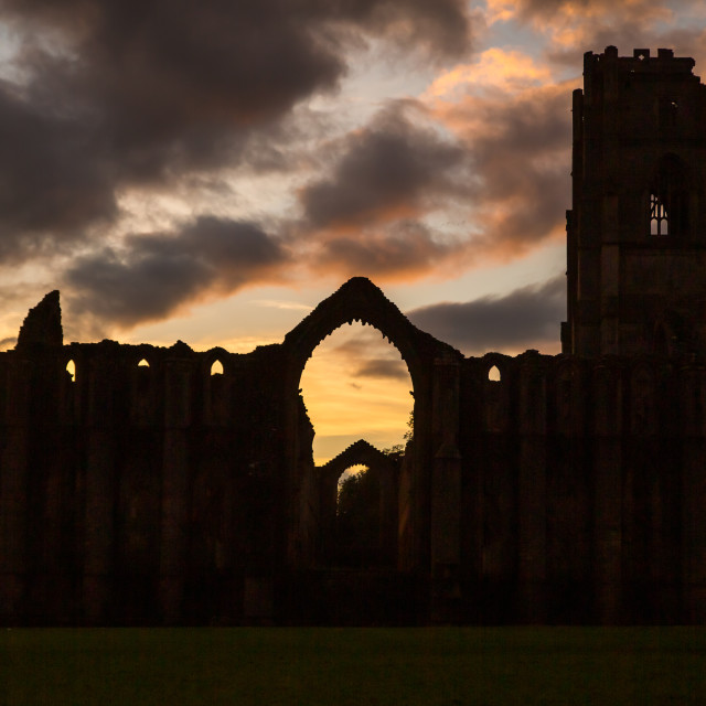 """""""Moody Fountains Abbey"""" stock image"""