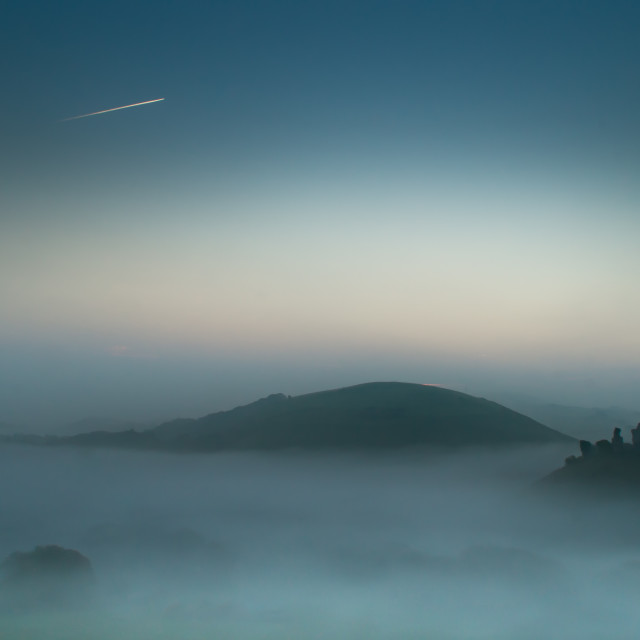 """Sunrise at Corfe Castle"" stock image"