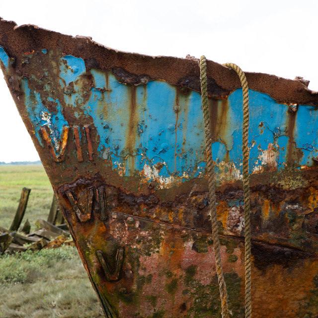 """VII an Abandoned Fishing Boat at Fleetwood"" stock image"