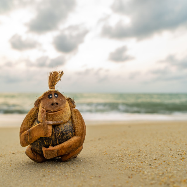 """Monkey coconut sculpture at the beach"" stock image"