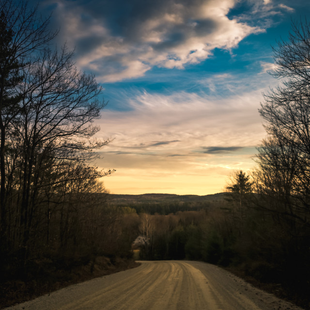 """Country Sunset View on Highlands Road"" stock image"