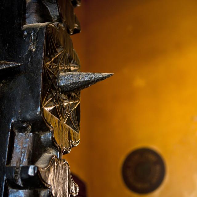 """Detail of a carved wooden door, Lamu County, Lamu, Kenya"" stock image"