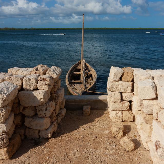 """""""Dhow in the port transporting coral blocks, Lamu County, Lamu, Kenya"""" stock image"""