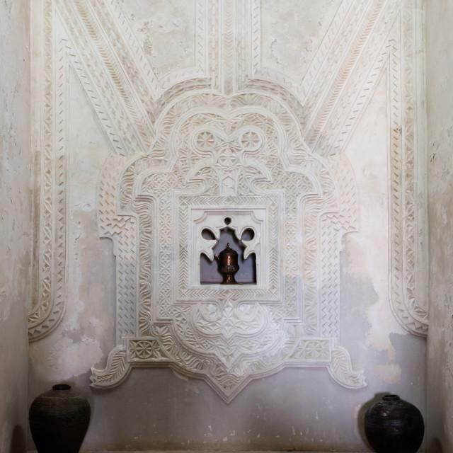 """Decorative stucco plasterwork in a house, Lamu County, Lamu, Kenya"" stock image"
