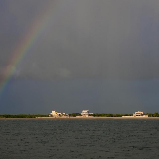 """""""Rainbow over the sea, Lamu County, Lamu, Kenya"""" stock image"""
