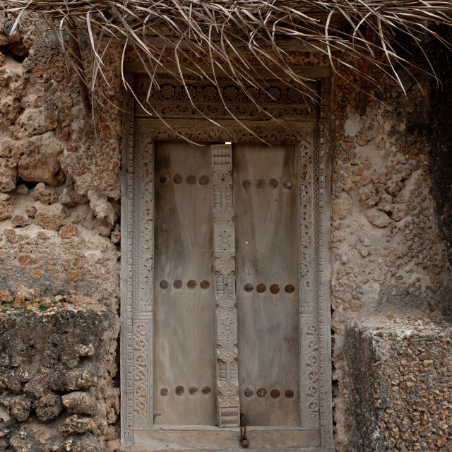 """""""Carved wooden front door of a traditional house, Lamu County, Siyu, Kenya"""" stock image"""