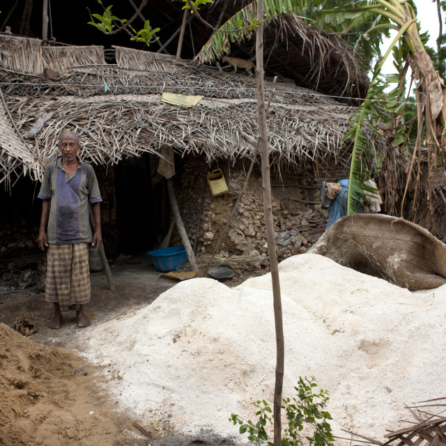 """Kenyan man building a house, Lamu County, Pate Island, Kenya"" stock image"