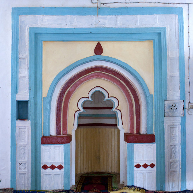 """""""The Mihrab in a colorful mosque, Lamu County, Pate Island, Kenya"""" stock image"""