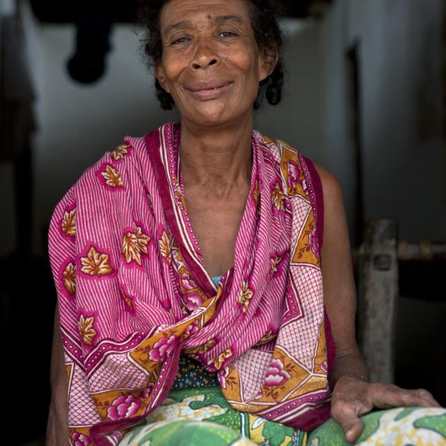 """Portrait of a woman with colorful clothing, Lamu County, Siyu, Kenya"" stock image"
