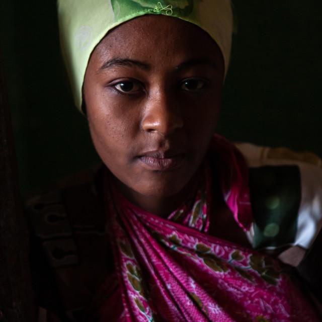 """Portrait of a muslim teenage girl, Lamu County, Pate Island, Kenya"" stock image"
