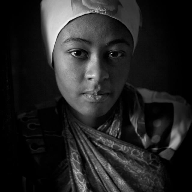 """Portrait of a teenage girl with muslim veil, Lamu County, Pate Island, Kenya"" stock image"