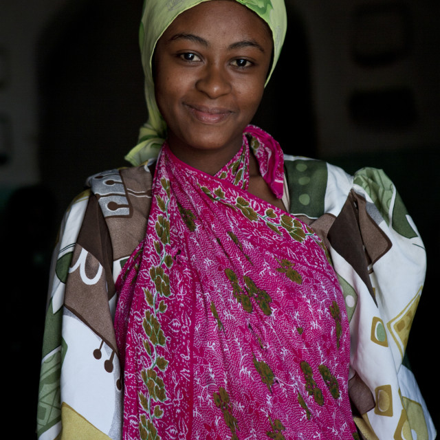 """""""Portrait of a woman with colorful clothing, Lamu County, Pate Island, Kenya"""" stock image"""