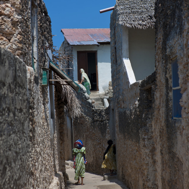 """Woman walking in a narrow street, Lamu County, Pate Island, Kenya"" stock image"