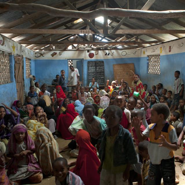 """Children studying in a coranic school, Lamu County, Pate Island, Kenya"" stock image"