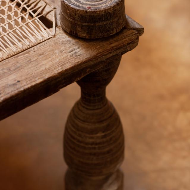 """Traditional wooden bed, Lamu County, Lamu, Kenya"" stock image"