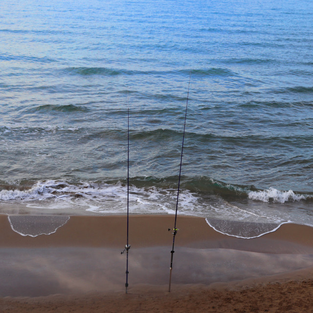 """""""Fishing rods in Sitges"""" stock image"""