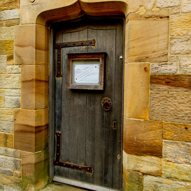 """""""Robin Hoods Bay and Fylingdales Museum Entrance in the old Coroners Room and Mortuary."""" stock image"""