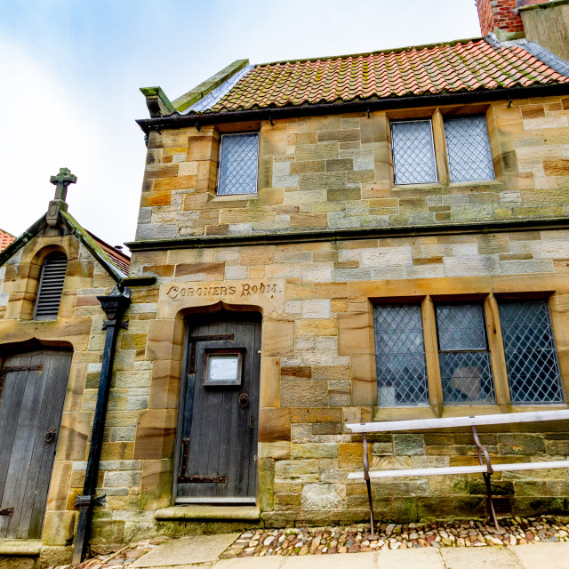 """""""Robin Hoods Bay and Fylingdales Museum in the old Coroners Room and Mortuary."""" stock image"""