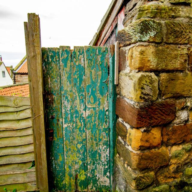 """""""Old Weathered Wooden Door, Robin Hoods Bay, Yorkshire, UK."""" stock image"""