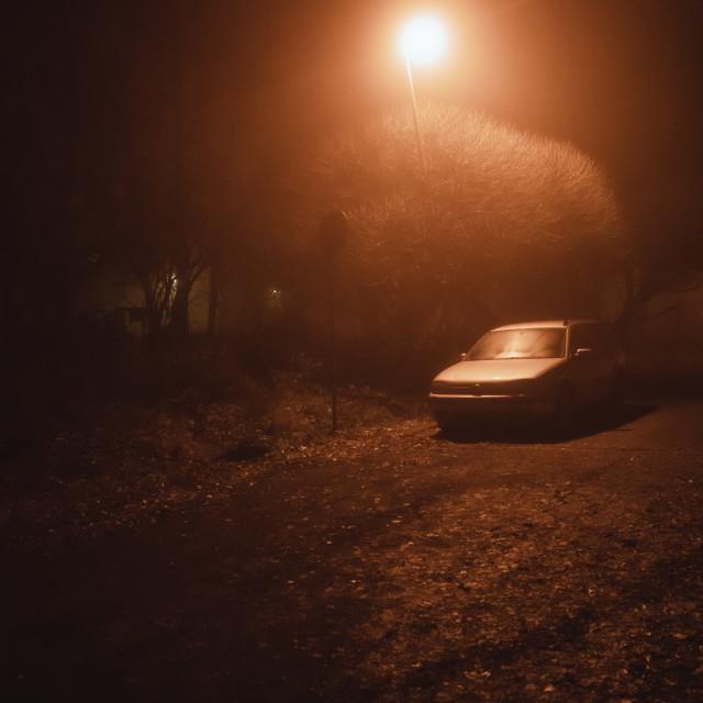 """""""Night Walk At Pispala IX (Car)"""" stock image"""