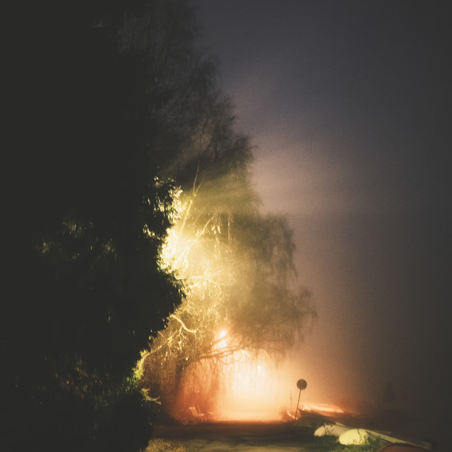 """Night Walk At Pispala XI (Vivid Lights)"" stock image"