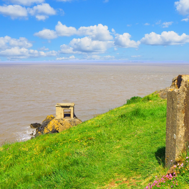 """""""Brean Down looking over to Steep Holm Island"""" stock image"""