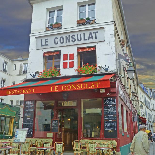 """""""Paris le Consulat restaurant"""" stock image"""