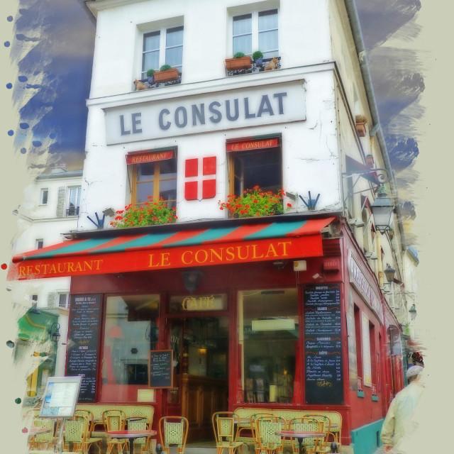 """Le Consulat restaurant Montmartre Paris"" stock image"