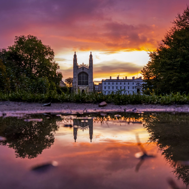 """Sunrise reflection of Kings College Chapel, Cambridge UK."" stock image"